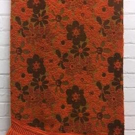 Bed Cover (D) Orange / Dark Brown Floral Woolly Boucle / Fringe