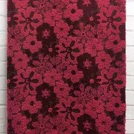 Bed Cover (D) Magenta / Wine Floral Woolly Boucle / Fringe