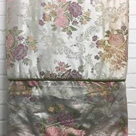 Fitted Bed Cover (S) Silver Floral Bouquets Brocade / Valance