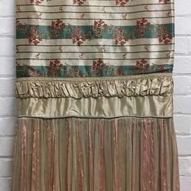 Bed Cover (D) Teal Floral & Stripe Satin Weave / Valance