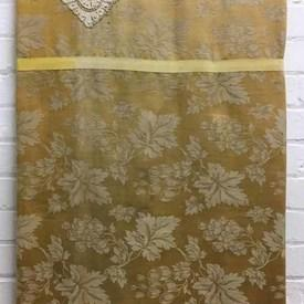 Bed Cover (Q) Yellow Leaf Damask / Lace Panel / Valance