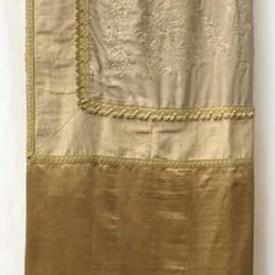 Bed Cover (SK) 10' x 10' Gold / Cream Chinese Emb Silk Panel / Silk Border / Braid
