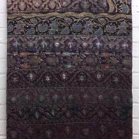 Bed Cover (K) Purple Indian Geo Metallic Brocade Banded Patchwork