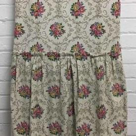 Fitted Bed Cover (S) Ivory / Pink Floral Linen / Valance