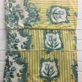 Fitted Bed Cover (S) Lemon Floral Medallion Stripe Chintz