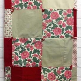 "Patchwork Throw 5'4"" x 4' Red Florals & Plains Squares / Tufted"