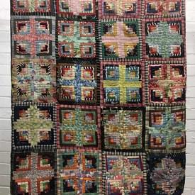 "American Patchwork 4' x 4'4"" Navy Log Cabin Geo Quilted"