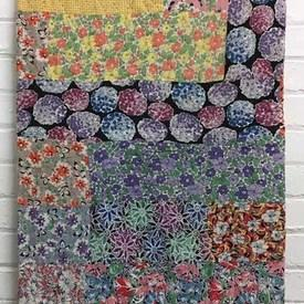 "Patchwork Bed Cover 6'9"" x 4'6"" Lilac Small Florals & Geos Print"