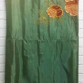 Bed Cover (S) Emerald Silk / Floral Applique Emb