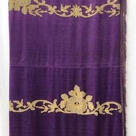 Bed Cover (K) Purple Silk / Floral Scroll Emb Applique / Fringe