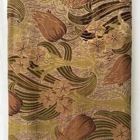 Bed Cover (K) 8' x 9' Tan / Olive Large Tulips Tapestry