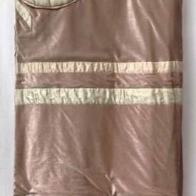 Fitted Bed Cover (K) Apricot Large Flower Scroll Silk & Velvet Applique / Valance