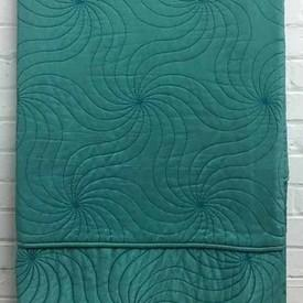 Bed Cover (5') Turquoise Silk Crepe / Swirl Emb Quilted / Valance