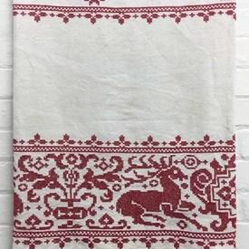 Bed Cover (S) / Off-White Heavy Linen / Red Floral & Animal X-Stitch