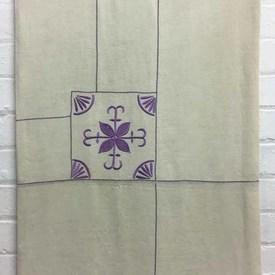 Bed Cover (D) / Ivory Linen / Lilac Geo Tiles Emb