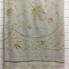 Bed Cover (Q) Cream Leaf Wool Crewel on Linen