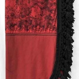 Bed Cover (K) 10' x 8' Red / Black Wool / Roses Print / Heavy Fringe