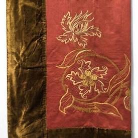 """Table Cover 6'8"""" x 5'6"""" Shredded Sateen Silk Floss/Gilt Floral Emb / Velvet Border"""