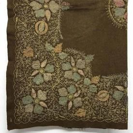 "Table Cover 2'10"" x 2'10"" Brown Wool / Indian Floral Silk & Metal Emb Late 19thC"
