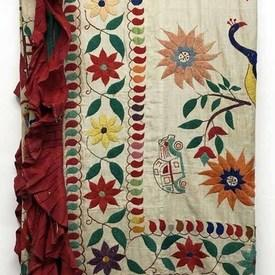 "Table Cover 6'7"" x 6'3"" Multi / Red Indian Birds/Flowers & Figures Hand Emb. Cotton / Frill"