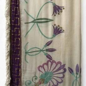 "Table Cover 11'8"" x 7'2"" Off-White / Mauve/Gilt Large Floral Leaf Motif Stencil / Crepe / Fringe"