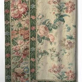 "Table Cover 12'2"" x 11'6"" Sea Large Floral Linen / Rose Border"