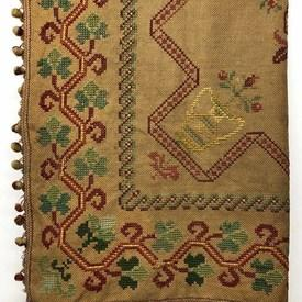 Table Cover 5' x 5' Gold Hessian / Red & Green Large Geo Floral X-Stitch Emb / Bobble Fringe