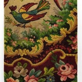"Table Cover 5'9"" x 5'9"" Maroon / Multi Birds of Paradise & Flowers Moquette"