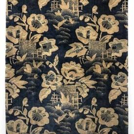 "Table Cover 5'10"" x 4'2"" Airforce / Off-White Floral & Leaf Print Figured Velvet"