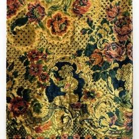 "Table Cover 6'6"" x 6' Yellow Floral Cut Silky Plush"