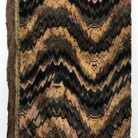 """Table Cover 6'8"""" x 4'8"""" Brown Flame Patt Cut Velvet / Fringe"""