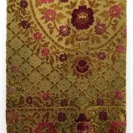 """Table Cover 5'8"""" x 5' Mustard Large Geo Floral Cut Plush / Fringe"""