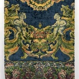"Table Cover 7'10"" x 6'2"" Cerulean Large Scroll & Cherubs Cut Plush / Fringe"