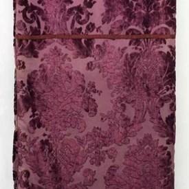 "Table Cover 9'3"" x 6' Magenta Large Floral Silk Velvet / Braid"