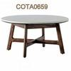 80 Cm Circ Marble Top On 4 Leg Walnut Base Coffee Table