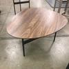 80 Cm X 65 Cm Walnut Veneer Shaped Top On Black Metal Tril Leg Base Coffee Table