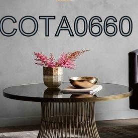 90Cm Circ Dark Glass Top on Wired Bronze Base Coffee Table