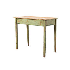 Wood & Green Painted Console Table