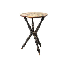 Black Turned Wooden Tri Legged Ocassional Table with Aged Pattern Top