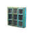 Blue/Green Painted Glass Panelled 3 Door Cupboard