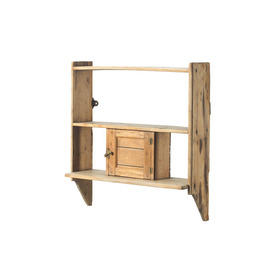 Wooden Wall Mounted Shelf with Small Cupboard