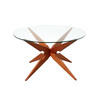 Wooden Star Coffee Table With Circ Glass Top