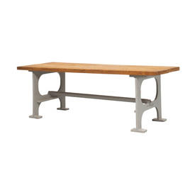 Grey Iron Base Dining Table with Waxed Wooden Top
