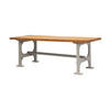 Grey Iron Base Dining Table With Waxed Wooden Top ( H: 73cm L: 203cm W: 83cm )