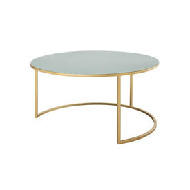 Large Circ Green Enamel Coffee Table on Gold Base