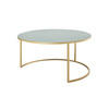 Large Circ. Green Enamel Coffee Table On Gold Base