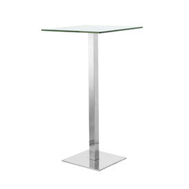 Square Glass & Chrome Poser Table