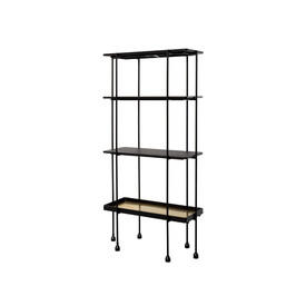 "Tall Black Wood & Gold ""Highline"" 4 Tier Shelving Unit"