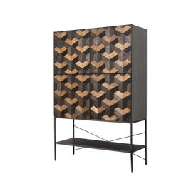 "Grey Steel & 2 Tone Oak Parquet ""Illusion"" 4 Door Cabinet"