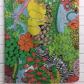 Bed Cover (S) Bright Multi Jungle Animals Print / Fringe